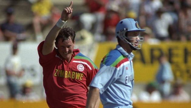 Eddo-Brandes-of-Zimbabwe-dismisses-Graham-Hick-of-England-during-a-World-Cup-match