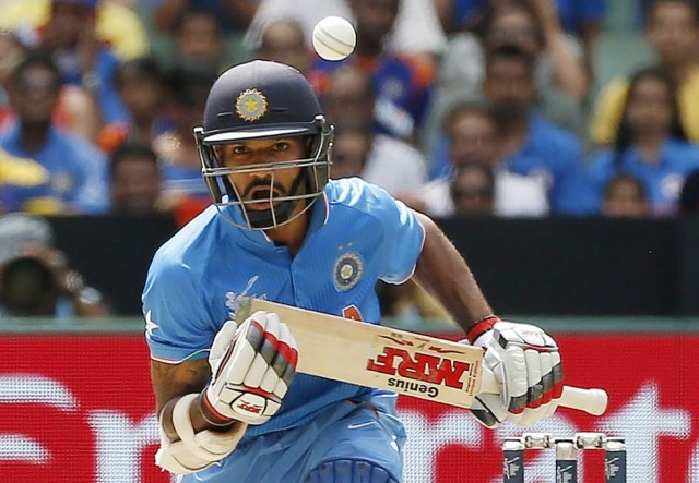 India's Shikhar Dhawan plays a shot during the Cricket World Cup match against South Africa at the Melbourne Cricket Ground (MCG)