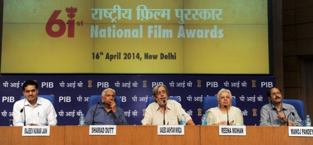 The National Films Awards Jury Chairperson, Shri Saeed Akhtar Mirza, Feature Film Jury (Central Panel), addresses a press conference to announce the 61st National Films Awards for the year 2013, in New Delhi on April 16, 2014.