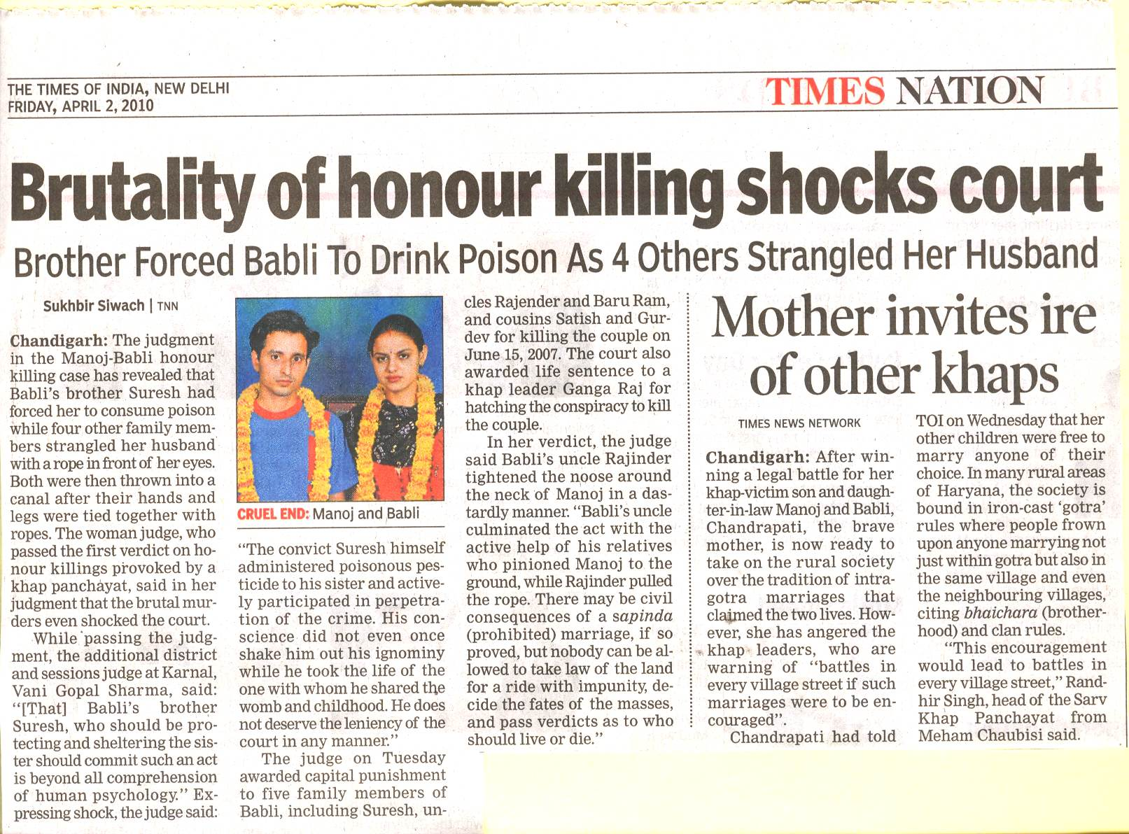 Nothing Honourable in Honour Killing