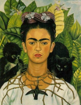 Painting by Frida Kahlo - Self Portrait with Thorn Necklace and Hummingbird