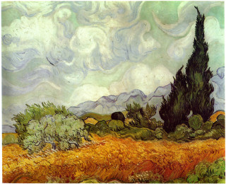 Painting by Vincent Van Gogh, Wheat Field with Cypresses