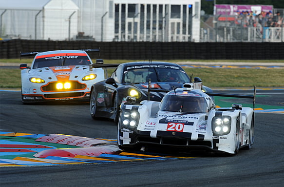 2014 Le Mans 24 Hours. Circuit de la Sarthe, Le Mans, France. Wednesday 11 June 2014.  Timo Bernhard/Mark Webber/Brendon Hartley, Porsche Team, No.20 Porsche 919 Hybrid.  World Copyright: Jeff Bloxham/LAT Photographic. ref: Digital Image DSC_2142 -------------------- LAT 2014 FIA World Endurance Championship Le Mans 24 Hours 11 June 2014 ©2014 LAT all rights reserved