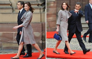 Former French President Nikolas Sarkozy wearing his stacked heel shoes with his wife Carla Bruni sporting flats at an official state visit in 2009.