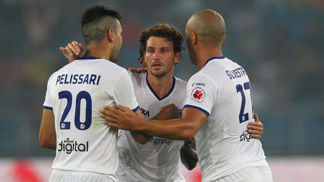 Elano Blumer of Chennaiyin FC celebrates his goal for Chennai during match 12 of the Hero Indian Super League between The Delhi Dynamos FC and Chennaiyin FC held at the Jawaharlal Nehru Stadium, Delhi, India on the 25th October 2014. Photo by:  Ron Gaunt/ ISL/ SPORTZPICS
