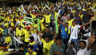 Fans during the match between Chennai Super Kings and Mumbai Indians at MA Chidambaram stadiumin Chennai on April 6, 2013. (Photo: IANS)