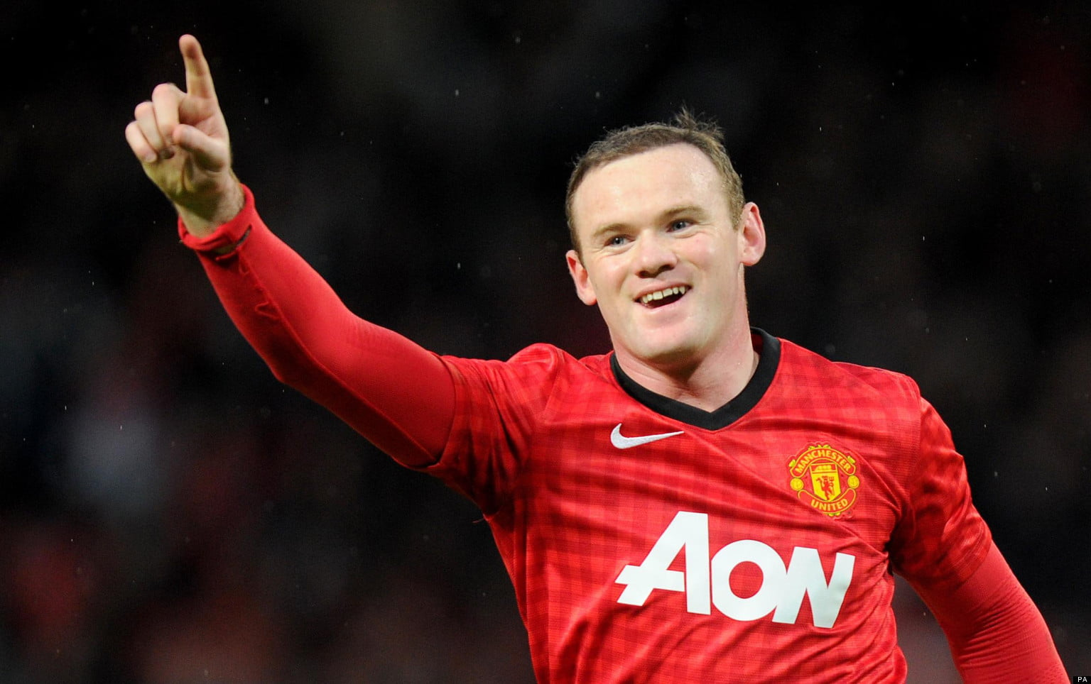 Manchester United's Wayne Rooney celebrates scoring during the Barclays Premier League match at Old Trafford, Manchester.