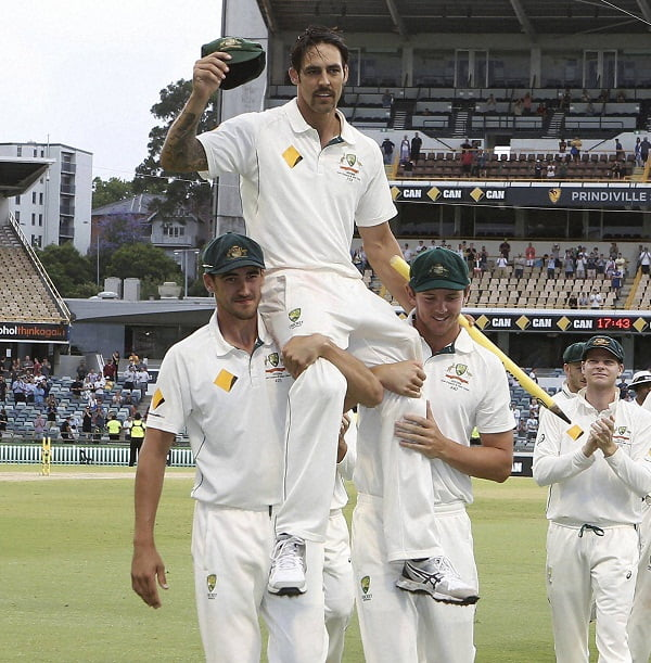 PERTH:  Australia's Mitchell Johnson is chaired off the ground after completing in his final test in the cricket test match against New Zealand in Perth, Australia, Tuesday, Nov.17, 2015. AP/PTI(AP11_17_2015_000079B)