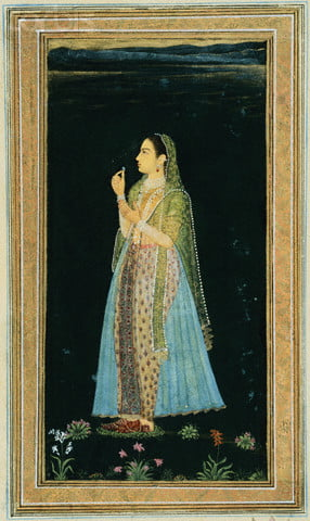ca. 1700-1740 --- Mughal Miniature Painting Depicting a Woman Holding a Blossom at Night --- Image by © Stapleton Collection/Corbis