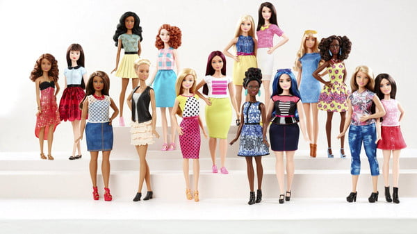 New Barbie doll body shapes of petite, tall and curvy are seen with the traditional Barbie in a photo released by Mattel on January 28, 2016. Barbie, the world's most famous doll, has a new body. In fact, she has three new bodies - petite, tall and curvy. Some 57 years after the impossibly busty and narrow-waisted blue-eyed Barbie doll was first introduced, California-based toy maker Mattel on Thursday released the new models, which it says better reflect a changing world. REUTERS/Mattel/Handout via Reuters ATTENTION EDITORS - THIS PICTURE WAS PROVIDED BY A THIRD PARTY. REUTERS IS UNABLE TO INDEPENDENTLY VERIFY THE AUTHENTICITY, CONTENT, LOCATION OR DATE OF THIS IMAGE. FOR EDITORIAL USE ONLY. NOT FOR SALE FOR MARKETING OR ADVERTISING CAMPAIGNS. THIS PICTURE IS DISTRIBUTED EXACTLY AS RECEIVED BY REUTERS, AS A SERVICE TO CLIENTS. NO SALES. NO RESALES. NO ARCHIVE.
