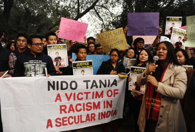 A huge protest rally against the killing of Nido Tania who was killed after being beaten up with iron rods and sticks by men after an altercation early this year.