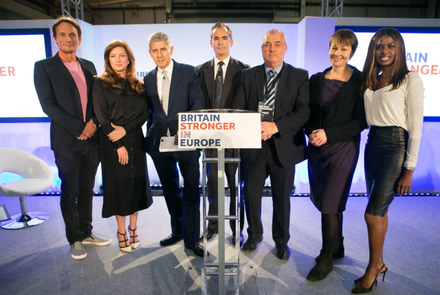 (left to right) Richard Reed, Karren Brady, Stuart Rose, Roland Rudd, Brendan Barber, Caroline Lucas and June Sarpong at the launch of the Britain Stronger in Europe campaign at the Truman Brewery, London.