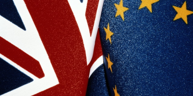 DETAIL OF BRITISH & EC FLAGS