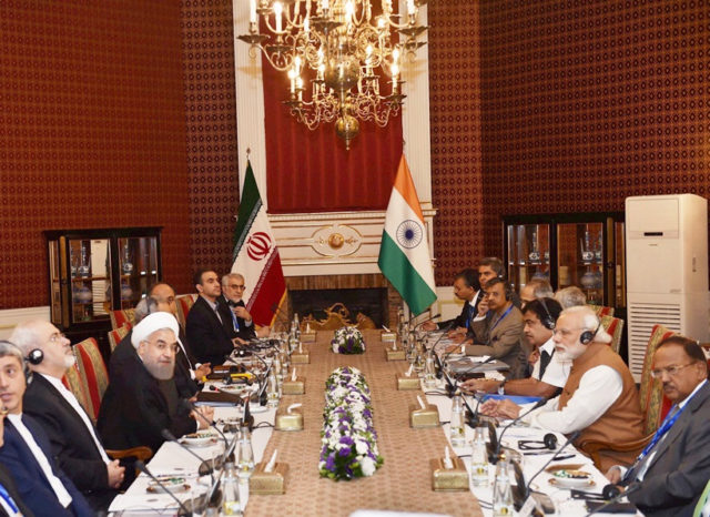 Tehran : Prime Minister Narendra Modi with Iranian President Hassan Rouhani during delegation level talks at the Saadabad Palace in Tehran, Iran on Monday. PTI Photo by Shahbaz Khan(PTI5_23_2016_000055A)