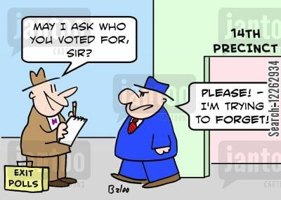 EXIT POLLS, 14TH PRECINCT, 'May I ask who you voted for, sir?', 'Please! -- I'm trying to forget!'