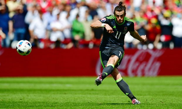 Gareth Bale sends a stunner from 40 yards to put wales ahead