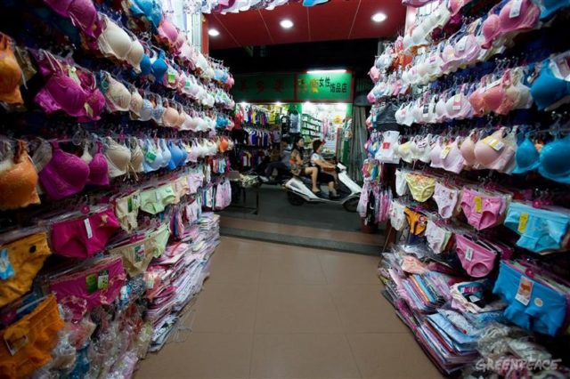 A lingerie shop in Gurao, where the economy is centered around textile production. Greenpeace has found high levels of industrial pollution and has documented the effects on the community.