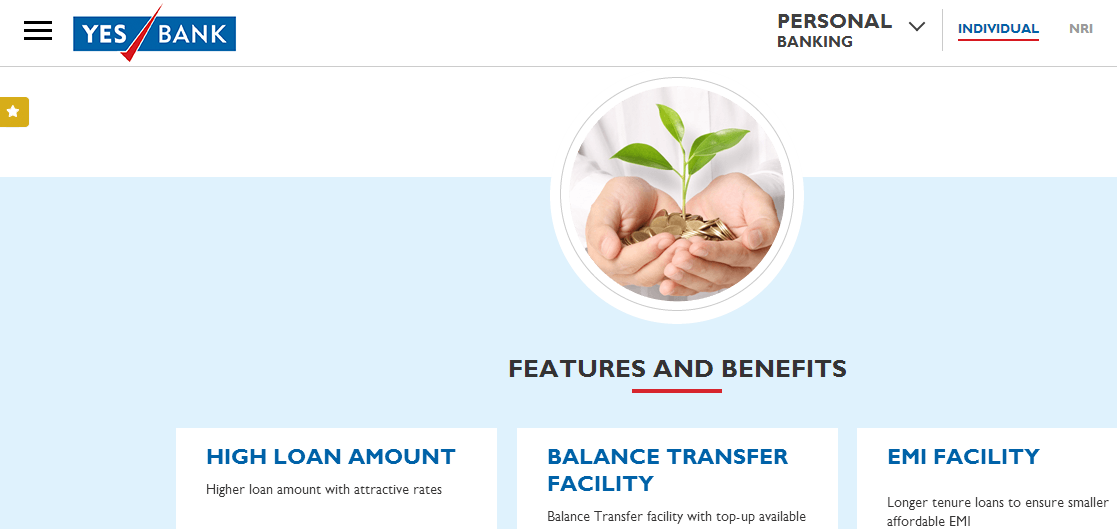 Yes Bank's Home Loan feature, as per their website.