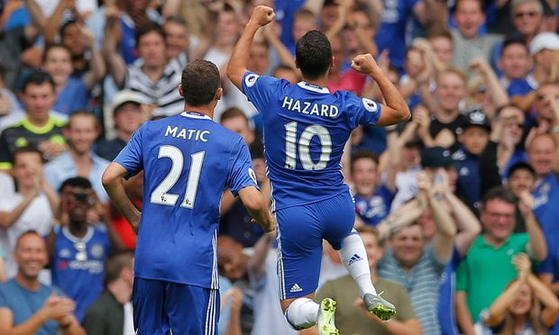 Hazard celebrates his goal as his scintillating form continues.