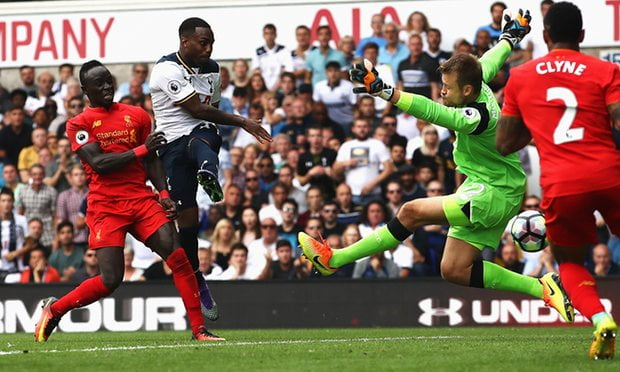 Danny Rose scores the equalizer for Tottenham.