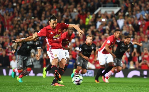 Zlatan confidently scores the penalty.
