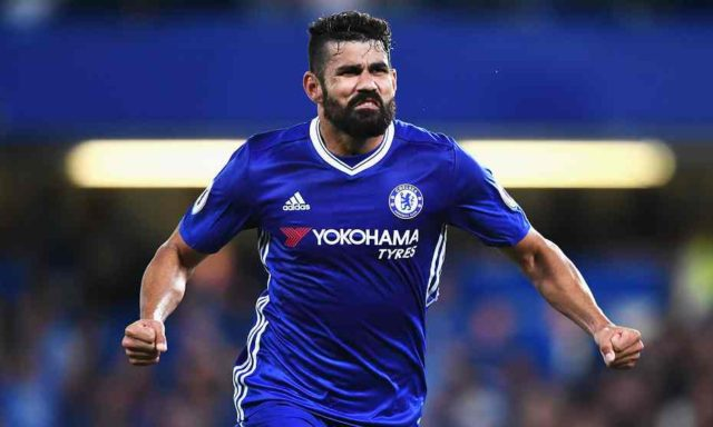 Diego Costa celebrates after putting Chelsea into the lead in the final minutes of the game.