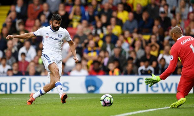 Diego Costa scores the winning goal to give Chelsea 2 wins out of 2 games in the Premier League.