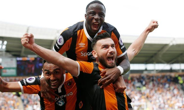 Robert Snodgrass celebrated after putting Hull City ahead.