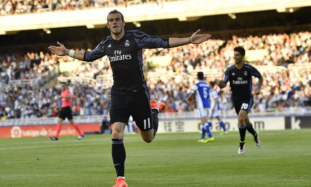 Gareth Bale celebrates after scoring for Real Madrid just 73 seconds into his 1st La Liga game of the season.