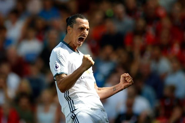 Zlatan scores his debut Premier League goal.