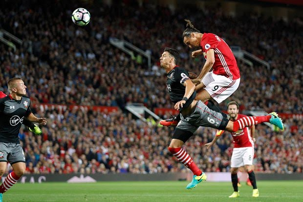 Zlatan scores his 1st goal of the game with a stunning header.