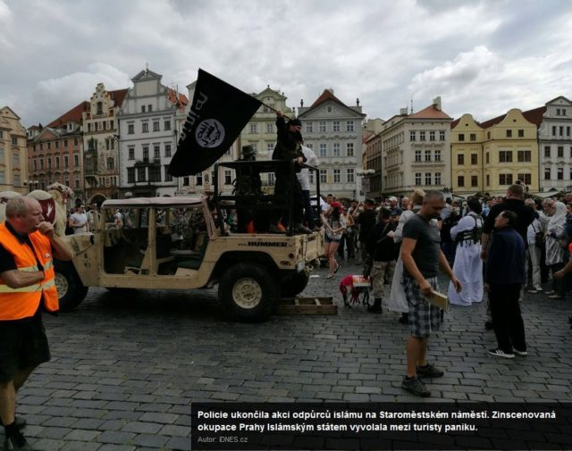 Anti-Islam protest in Prague's Old Town