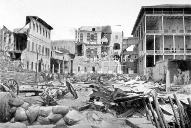 (August 27, 1896) - Bombing of Zanzibar by the British army. Ruins of the palace after the bombing. - 27.08.1896 Released for Countries: Germany, Austria, Switzerland