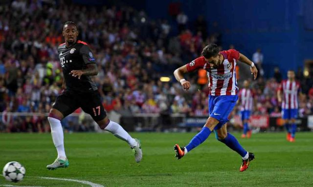 Carrasco strikes for Atletico to put them ahead.