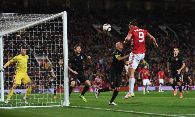 Zlatan finally scores for Manchester United.