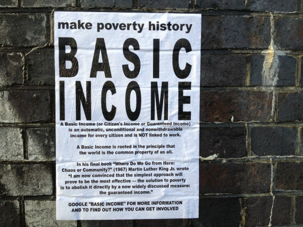 Poster supporting Universal Basic Income in Finland