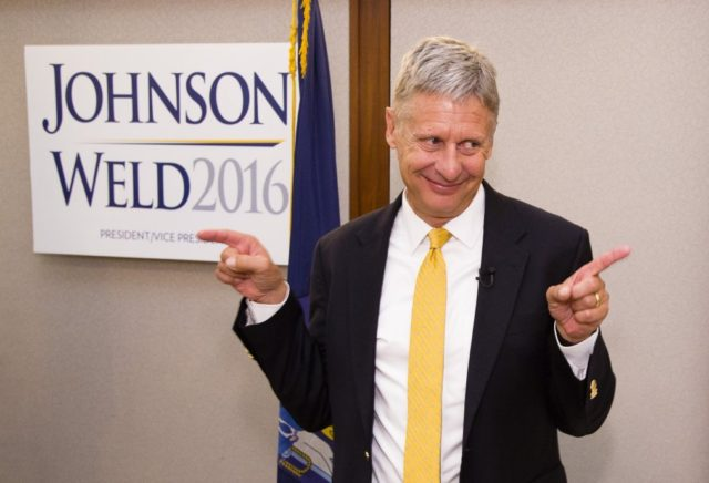 PORTLAND, ME - AUGUST 26: Former New Mexico Governor, and third party presidential candidate hopful, Gary Johnson smiles and gestures to supporters after a campaign speech at the Portland Regency Friday. Former Massachussetts Governor Bill Weld was also there. (Photo by Carl D. Walsh/Portland Press Herald via Getty Images)