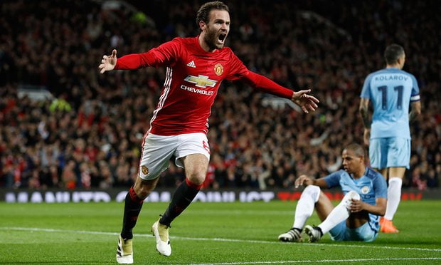 Juan Mata celebrates after scoring and putting United ahead.