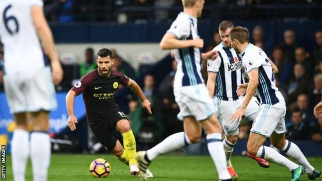Aguero couldn't be contained by the West Brom defense.