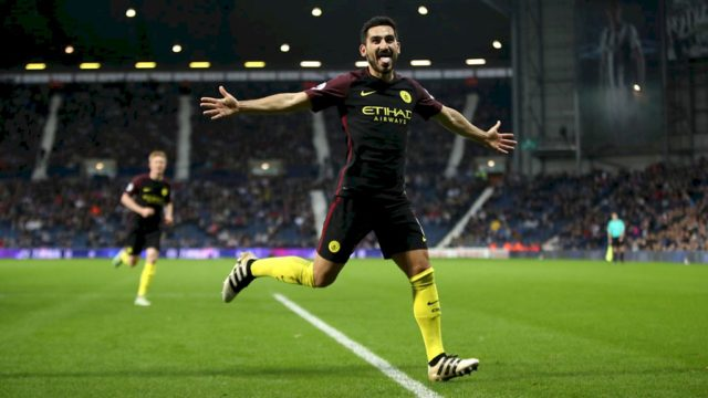 Gundogan celebrates his side's 3rd goal and his 1st of the night.
