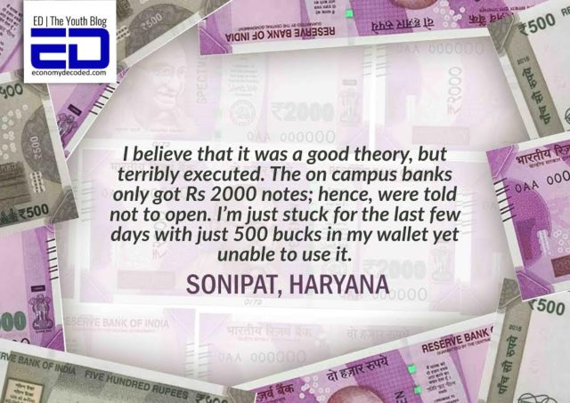 Student in Haryana handling the currency ban