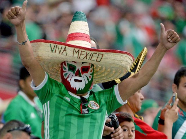 Mexican natinal anthem being played at a match