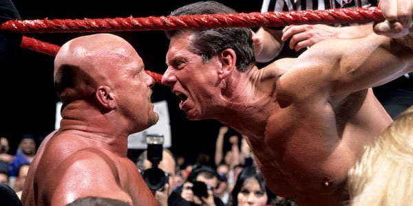One of the most iconic WWE rivalries was between Stone Cold Steve austin (L) and Vince McMahon (R).