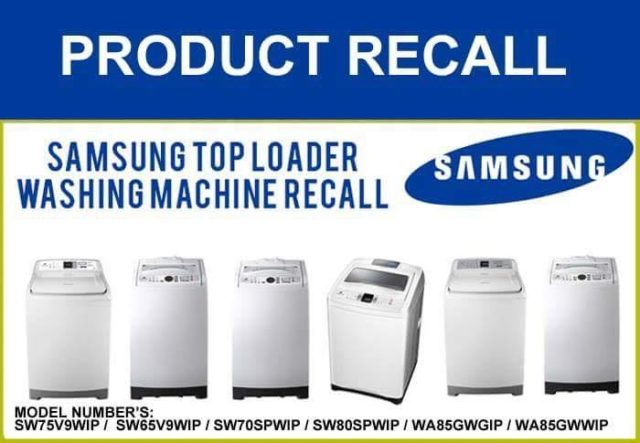 List of recalled models of washing machines by Samsung