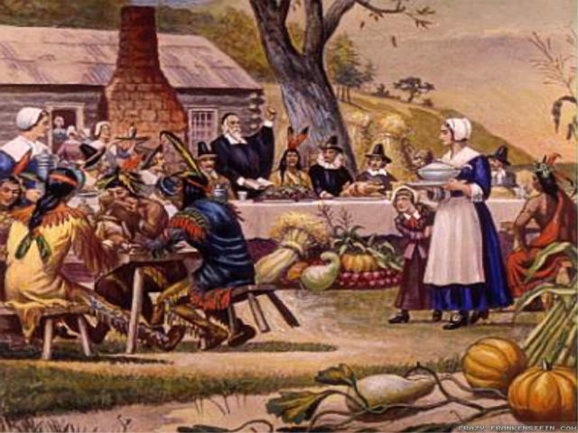 Depiction of the first Thanksgiving by an artist