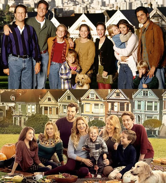 The Cast of Full House (above) and Fuller House (below)