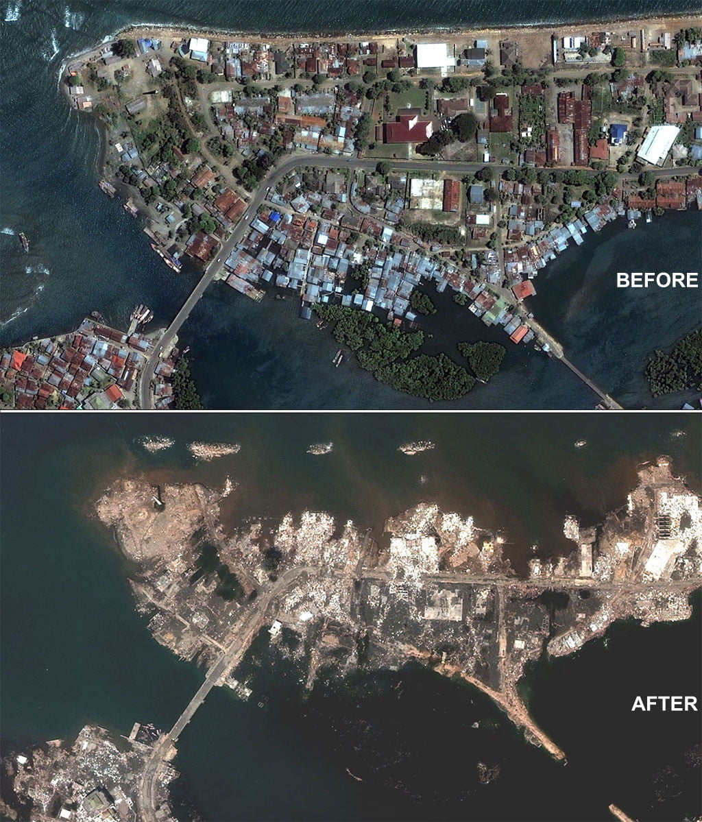 The city of Banda Aceh before and after the Indian Ocean Tsunami