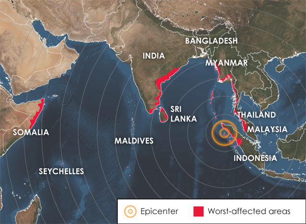 Indian Ocean Tsunami - The epicentre with the affected areas
