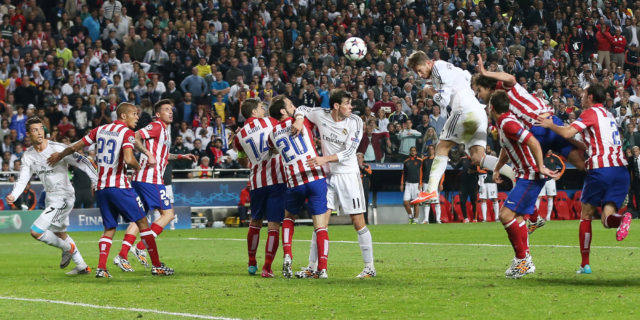 Sergio Ramos (leaping) scored a super header to equalize and ultimately win the game for Real Madrid.