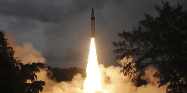 The test launch of Agni V from Abdul Kalam Island